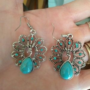 Jewelry - Peacock statement earrings - NWT